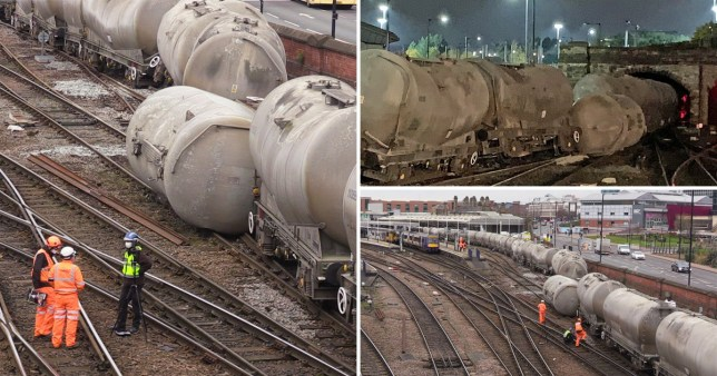 Pictures of a freight train derailment just north of Sheffield railway station on November 11, 2020