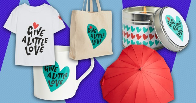 john lewis christmas advert merch: heart shaped umbrella, candle, tote bag, mug, and T-shirt