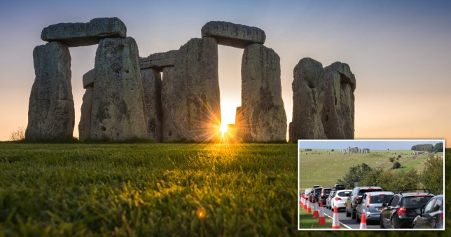 Stonehenge and traffic during the August Bank Holiday of 2020