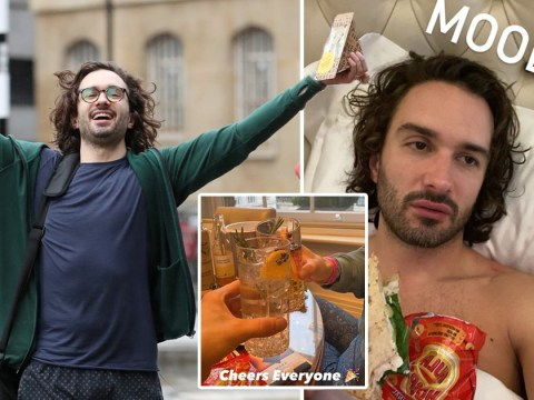 Joe Wicks celebrates raising £1.5m for Children In Need with a gin and tonic