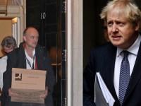 Dominic Cummings quitte le n ° 10 Downing Street avec une boîte en carton (à gauche) et le Premier ministre Boris Johnson (à droite)