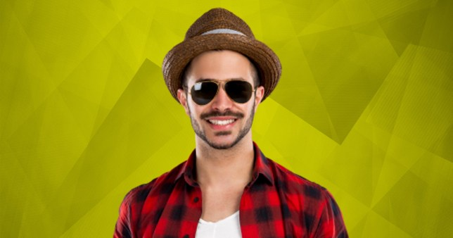 A man wears a fedora hat to hide hair loss.