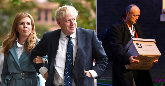 Boris Johnson and his partner Carrie Symonds. Also pictured is Dominic Cummings leaving Downing Street with a cardboard box
