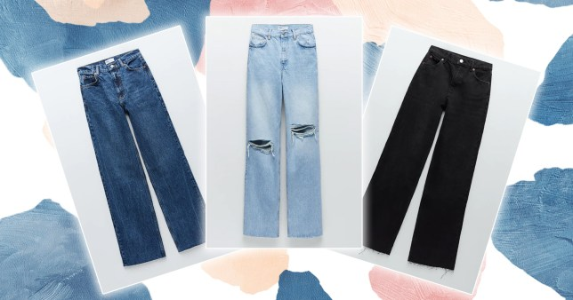 Collage of Zara hi-rise wide-leg jeans