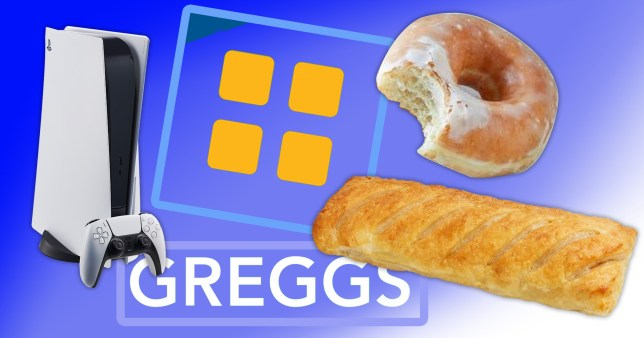Greggs products and a PS5