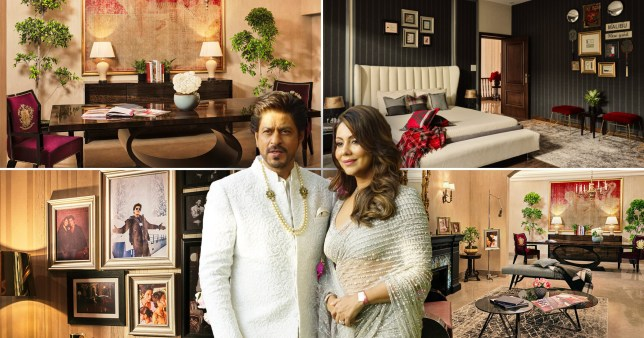 Shah Rukh and Gauri pictured, next to images of their home