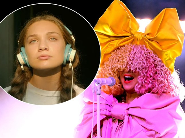 Composite photo of Maddie Ziegler playing the character Music in the film of the same name, and Sia Furler performing live