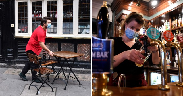 Pubs shown preparing to close before the lockdown