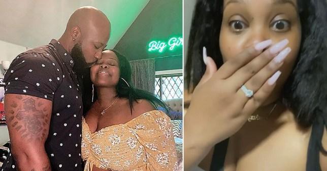 Amber Riley pictured with fiancé Desean Black and showing off engagement ring