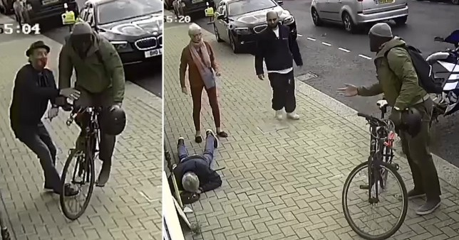 A police worker hit a pensioner while cycling on the pavement