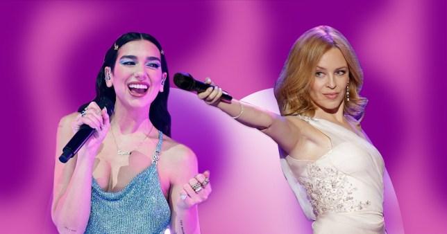 Dua Lipa and Kylie Minogue performing