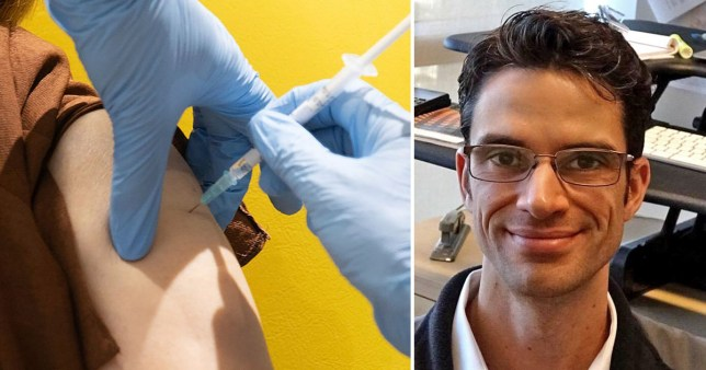 A person's arm being injected with a vaccine and Professor Darren Lipomi
