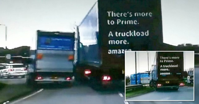 Dash cam footage recorded by another driver caught the moment the Amazon truck tried to ram a lorry off the road. of Amazon lorry driver trying to force another lorry off the road