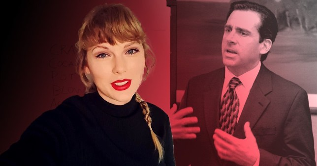 Taylor Swift next to Steve Carell as Michael Scott in The Office