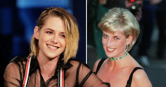 Kristen Stewart pictured on Jimmy Kimmel Live! alongside picture of Princess Diana
