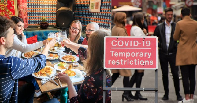 Pubs, restaurants and a Covid-19 temporary restrictions sign