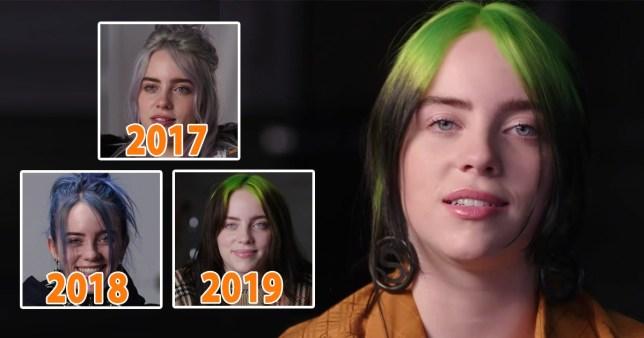 Billie Eilish in various years for Vanity Fair interview