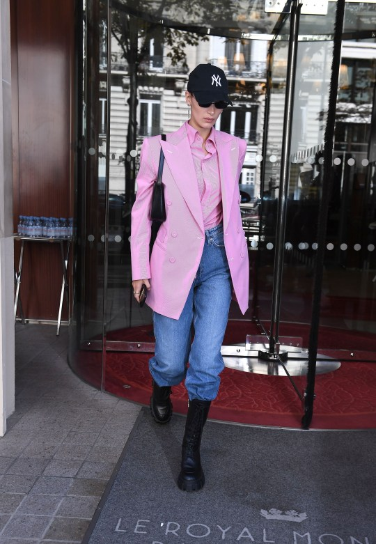 Bella Hadid out and about wearing chunky soled boots