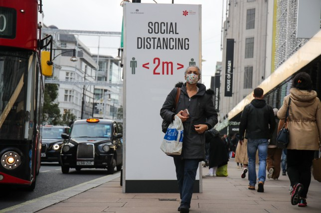 Social distancing markers on Oxford Street
