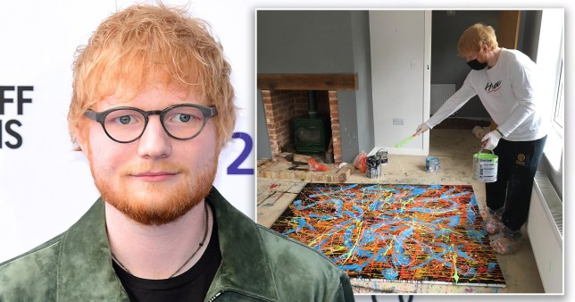 Ed Sheeran pictured at event and creating canvas painting at home