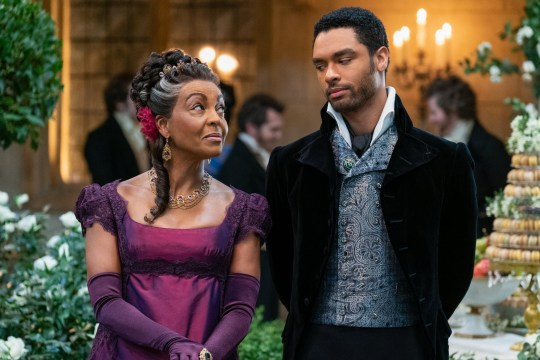 ADJOA ANDOH as LADY DANBURY and REGE-JEAN PAGE as SIMON BASSET in Bridgerton