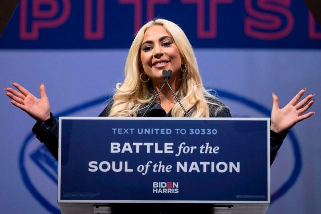 Lady Gaga at Joe Biden election rally