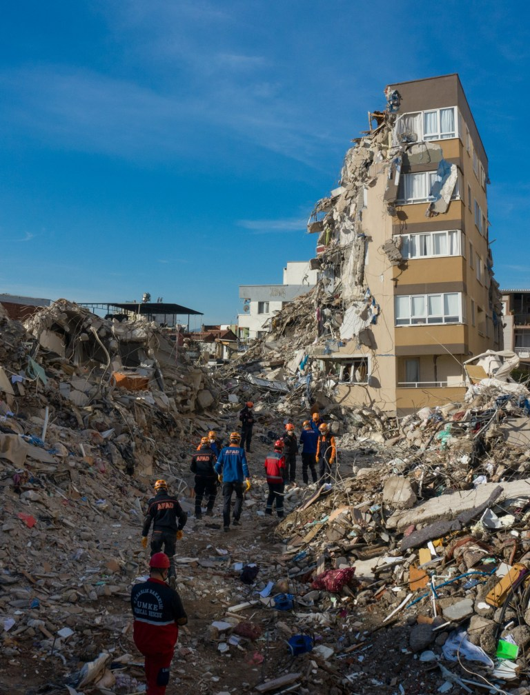 IZMIR, TURKEY - NOVEMBER 3: A drone photo shows the damage site as search and rescue works continue for damaged buildings in Baris Site located in Bayrakli district after a magnitude 6.6 quake shook Turkey's Aegean Sea coast, in Izmir, Turkey on November 3, 2020. (Photo by Mahmut Serdar Alakus/Anadolu Agency via Getty Images)