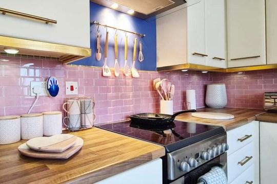 pink kitchen after diy makeover