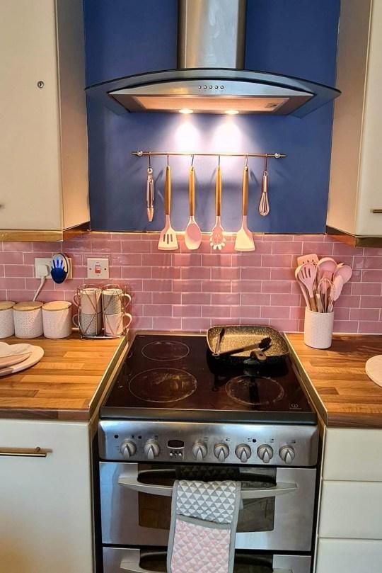 pink and rose gold kitchen after diy makeover