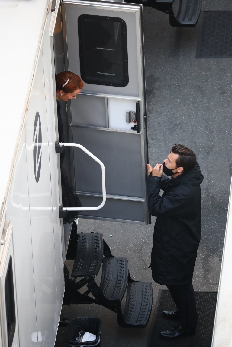 Harry Styles and Olivia Wilde  on Don't Worry Darling set