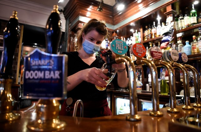 A bar tender pulls a pint behind a bar