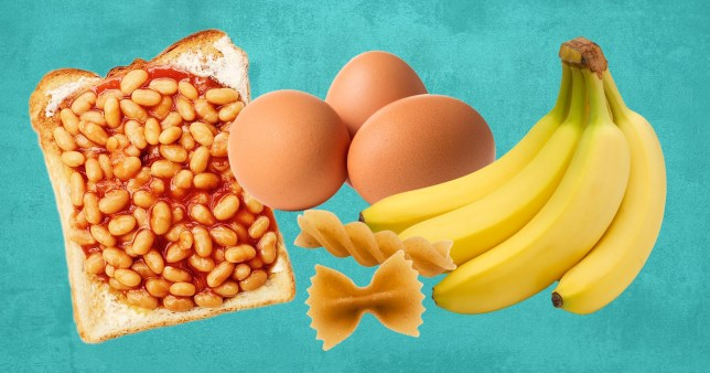 beans on toast, eggs, bananas and pasta