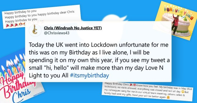Picture: @Chrisviews43 Thousands are wishing a man named Chris happy birthday after lockdown meant he spent it alone