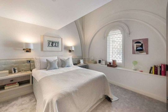 bedroom in church conversion home