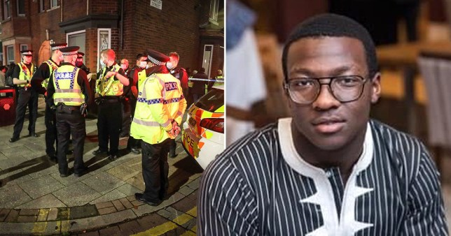 A young black man wearing glasses and a striped top can be seen next to a group of police investigating his murder