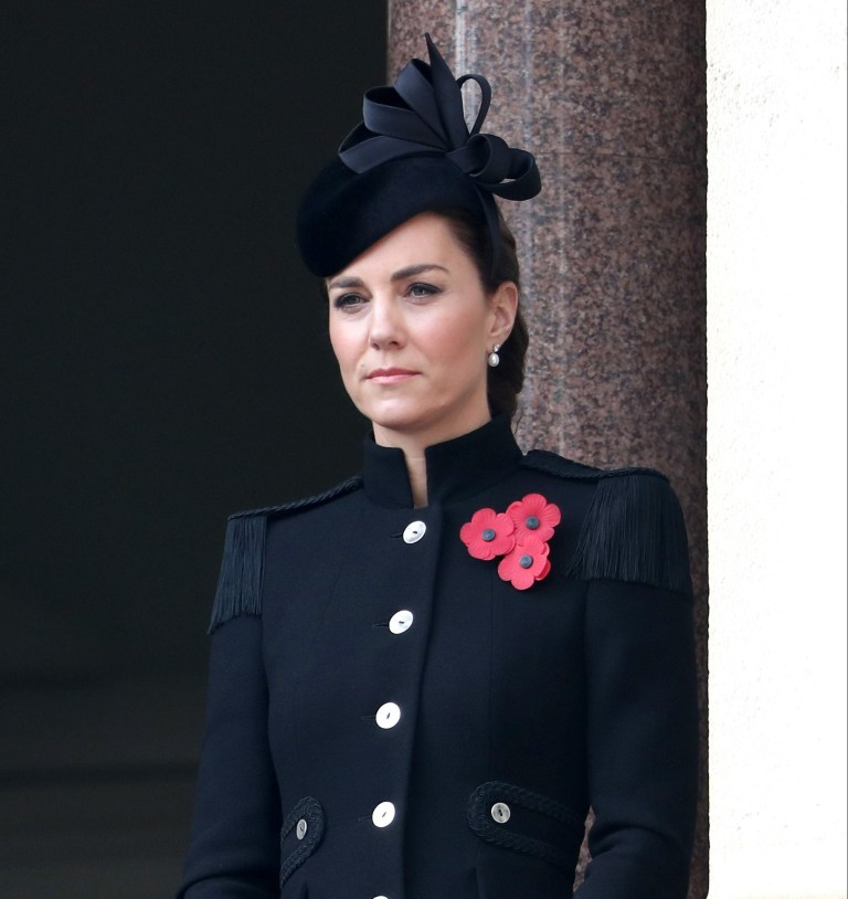 LONDON, ENGLAND - NOVEMBER 08: Catherine, Duchess of Cambridge during the National Service of Remembrance at The Cenotaph on November 08, 2020 in London, England. Remembrance Sunday services are still able to go ahead despite the covid-19 measures in place across the various nations of the UK.