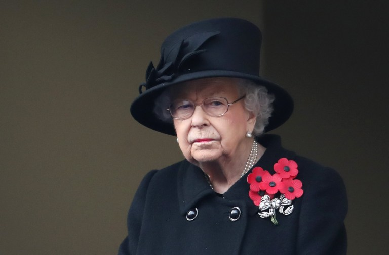 LONDON, ENGLAND - NOVEMBER 08: Queen Elizabeth II during the National Service of Remembrance at The Cenotaph on November 08, 2020 in London, England. Remembrance Sunday services are still able to go ahead despite the covid-19 measures in place across the various nations of the UK.