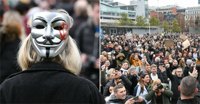 The protest began in Piccadilly Gardens