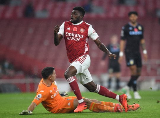 Thomas Partey was forced off in Arsenal's defeat to Aston Villa