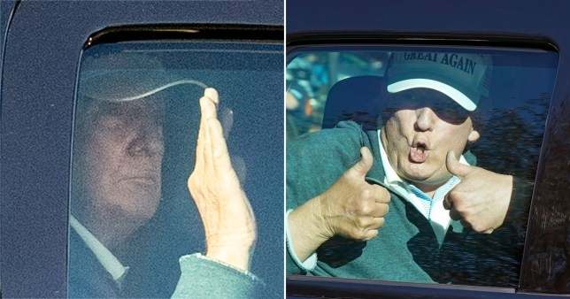 Donald Trump pictured in his motorcade arriving at his golf club in Virginia