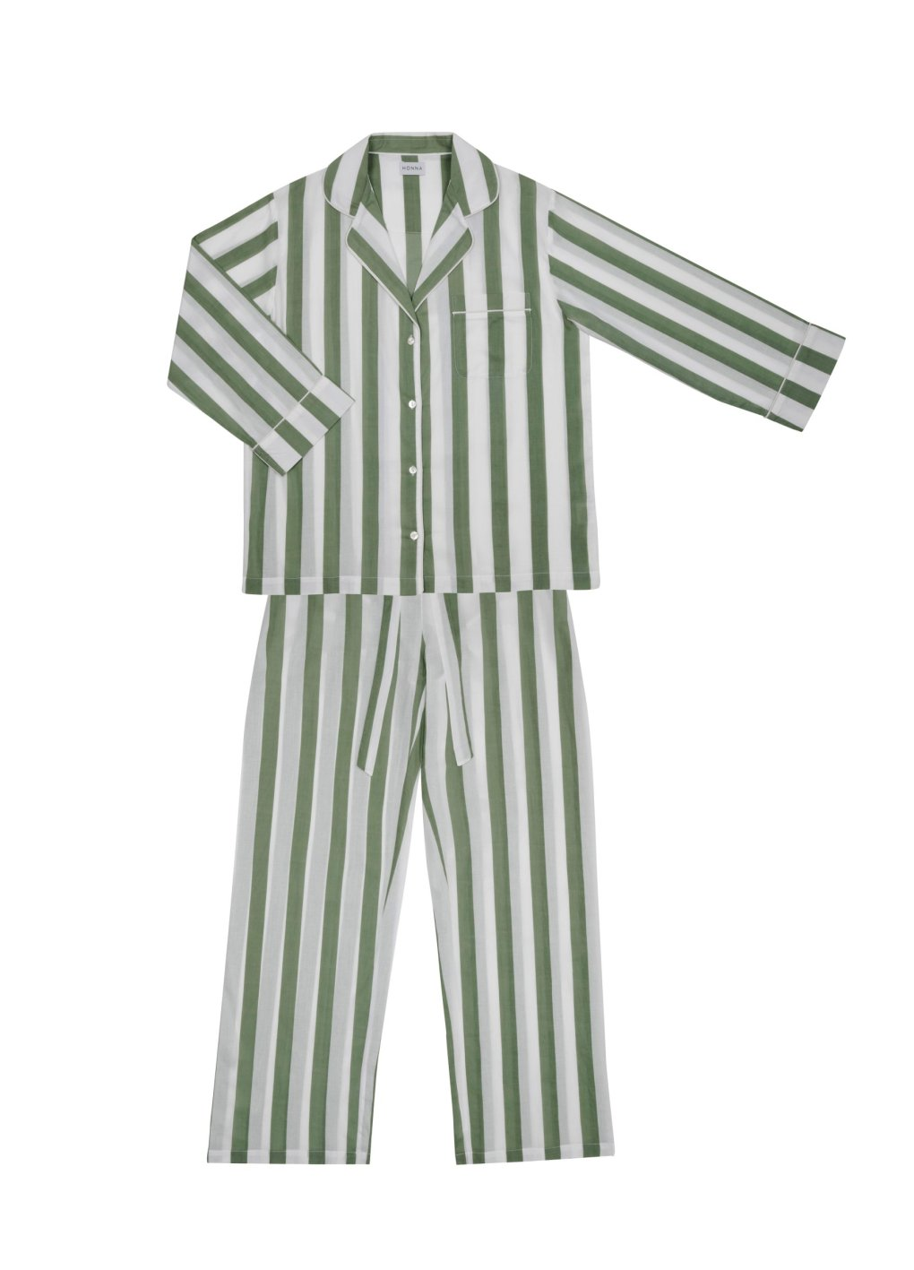 Sage green stripes, soft cotton and mother of pearl buttons all feature on Honna London?s sumptuously oversized new PJs which I can testify really can be worn on a Zoom call with no-one batting an eyelid. ?120, honnalondon.com https://www.honnalondon.com/collections/frontpage/products/sage-stripe-pyjama-set