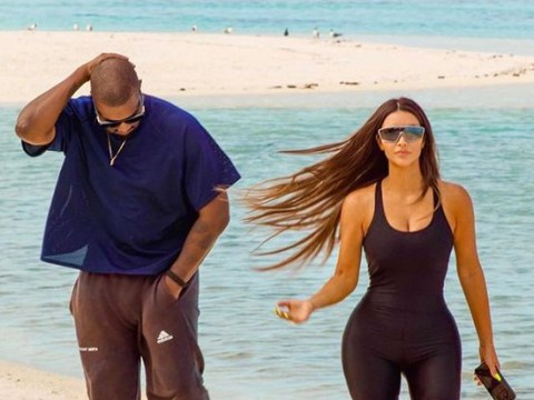 Kim Kardashian and Kanye West hit up the beach in their Yeezys as she shares birthday trip throwback