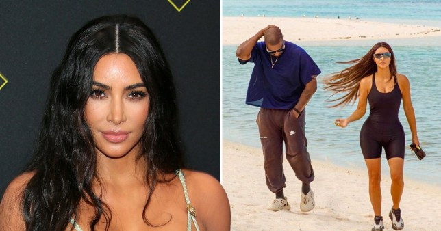 Picture: Getty, Kim Kardashian Kim Kardashian and Kanye wear sneakers to the beach which is a totally normal thing to do