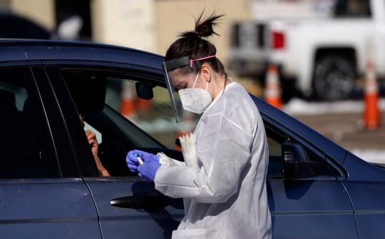 Coronavirus test in a car
