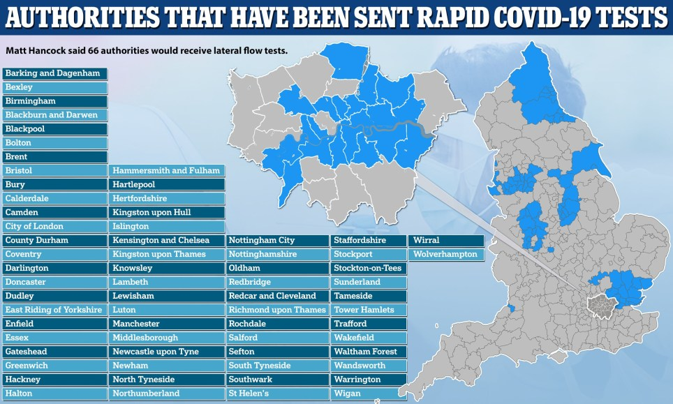 Revealed: List of 66 towns and cities where mass-testing will be rolled out next