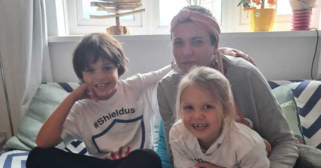 Nina Peters, founder of shielders support group ShieldUs with her children Ralph, nine, and Ivy, four