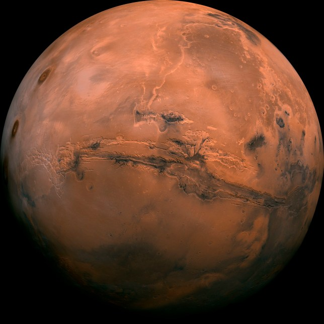 This image made available by NASA shows the planet Mars. This composite photo was created from over 100 images of Mars taken by Viking Orbiters in the 1970s. NASA is underestimating the amount of time and money it will take to bring Mars rocks back to Earth in the coming decade, an independent panel said Tuesday, Nov. 10, 2020. (NASA via AP)