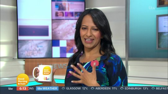 Ranvir Singh wears her slippers as she reads the new on GMB becfause her feet hurt from dancing on Strictly