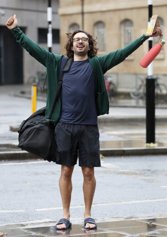 Mandatory Credit: Photo by Beretta/Sims/REX (11014595b) Joe Wicks completes his 24-hour charity workout challenge. Joe has currently raising more than 1.5 million GBP for Children in Need. Joe Wicks out and about, London, UK - 13 Nov 2020 Joe Wicks at BBC Broadcasting House after completing his 24 hour workout for Children in Need, raising over ??1 million.