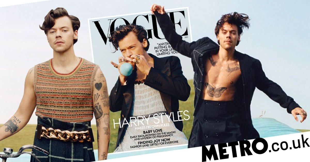 harry styles slays toxic masculinity on vogue us cover metro news harry styles slays toxic masculinity on